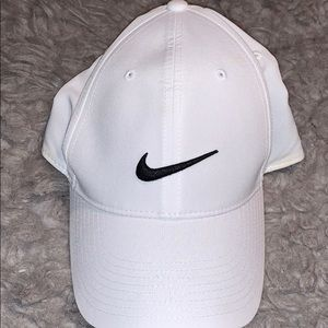 White w black nike symbol hat